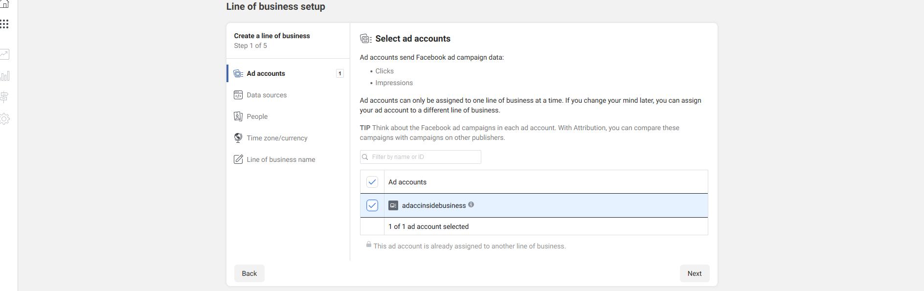 select ad accounts